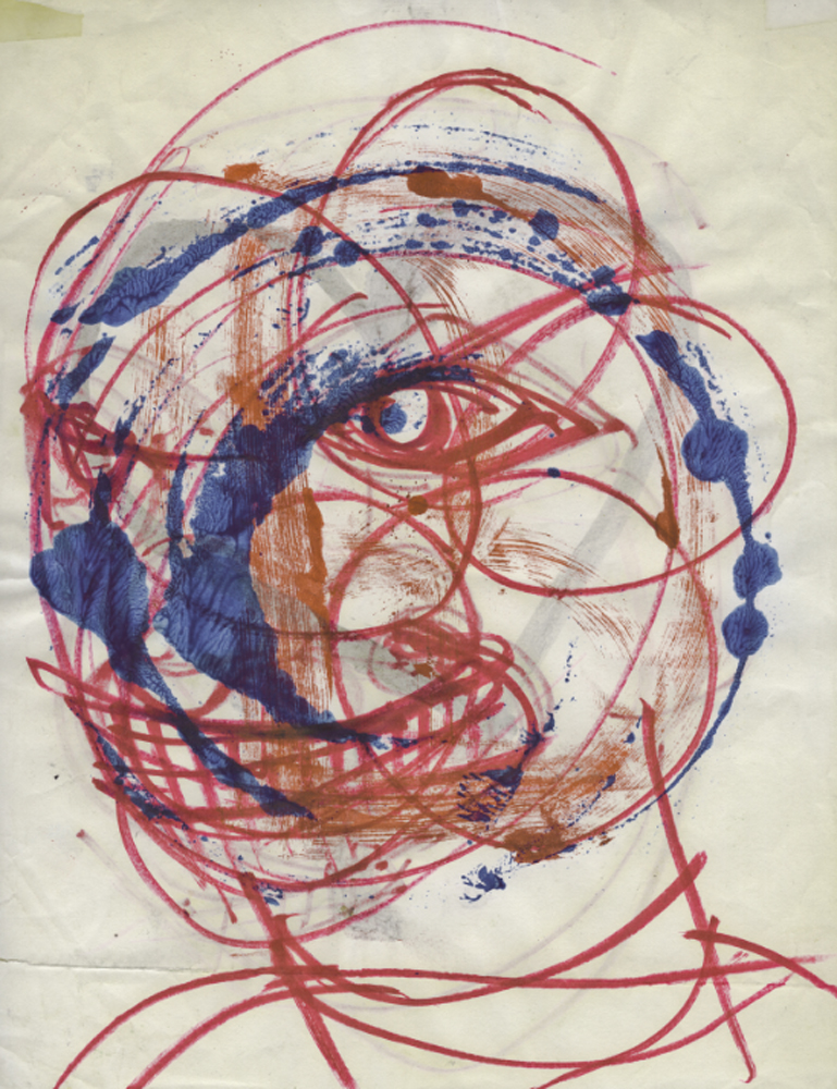 PORTRAIT OF UNKNOWN MAN IN RED, WHITE & BLUE