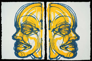 Blue And Yellow Man On Paper