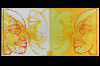 Double Inverted Portrait (Headlights Shadowplay Car Crash Cardgame Self Love Egodeath)