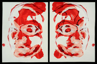 Red and White Small on Paper